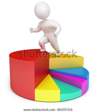 chart people 3d render - stock photo