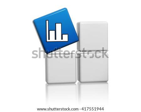 chart sign - blue cube with white symbol on grey boxes 3D illustration, business development concept - stock photo