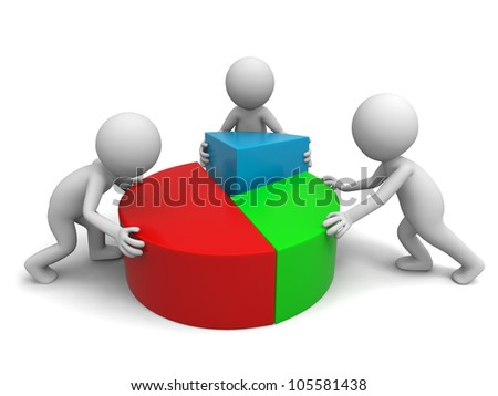 chart/Three men are put together the chart - stock photo