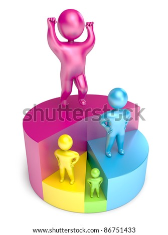 chart victory people 3d render - stock photo