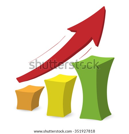 Chart with arrow. Colorful cartoon illustration on a white background  - stock photo