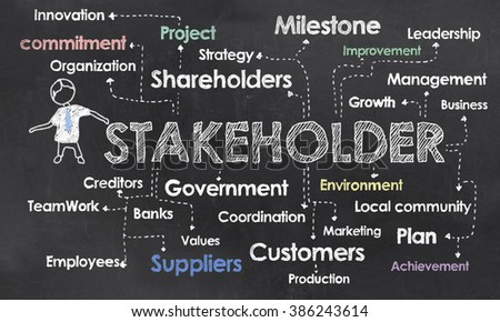 Chart with Stakeholder and Buzzwords on Blackboard - stock photo