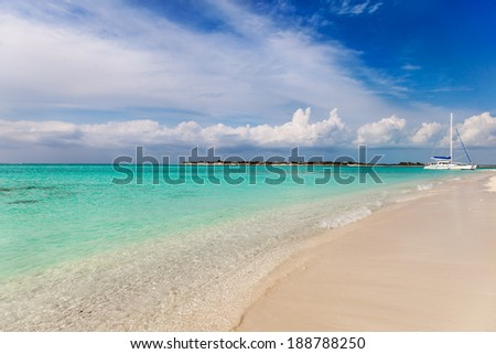 Charter sailboat beached near Leeward Going Through, Providenciales, Turks and Caicos - stock photo