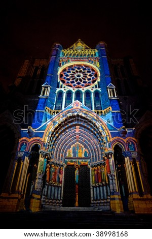 Chartres (Eure-et-Loir, Centre, France) - Exterior of the gothic cathedral illuminated at night