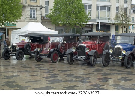 CHARTRES, FRANCE - APRIL 26: 10th Walk with classic cars and modern in Chartres, France April 26, 2015