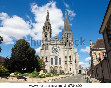 CHARTRES, FRANCE - JULY 21, 2015:  Cathedral of Our Lady of Chartres, a medieval Catholic cathedral in Chartres, France, about 80 kilometers southwest of Paris.