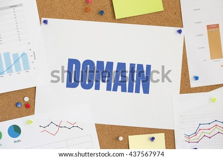 Charts and Graphs Showing the Results with DOMAIN word written paper on corkboard - stock photo