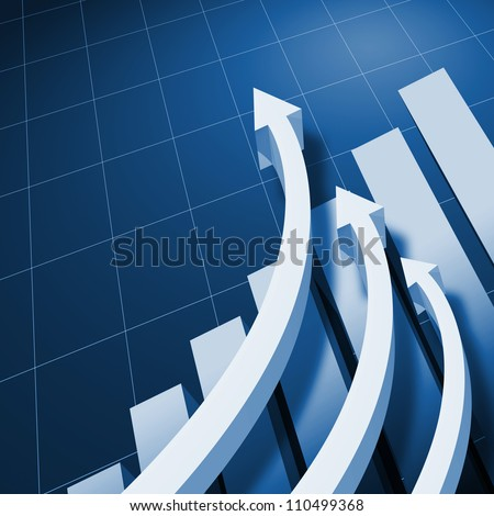 Charts and upward directed arrows against blue  background - stock photo