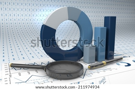 Charts Financial Analysis  with pen and magnifying glass - stock photo