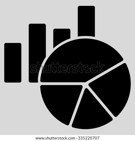 Charts glyph icon. Style is flat symbol, black color, rounded angles, light gray background.