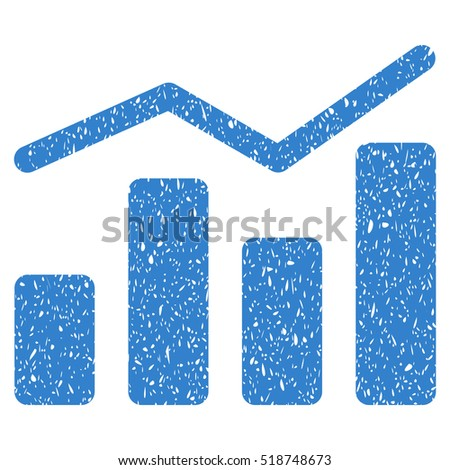 Charts grainy textured icon for overlay watermark stamps. Flat symbol with scratched texture. Dotted glyph cobalt ink rubber seal stamp with grunge design on a white background.