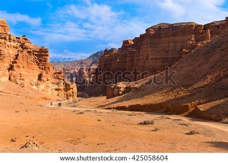 Charyn canyon in Almaty region of Kazakhstan - stock photo