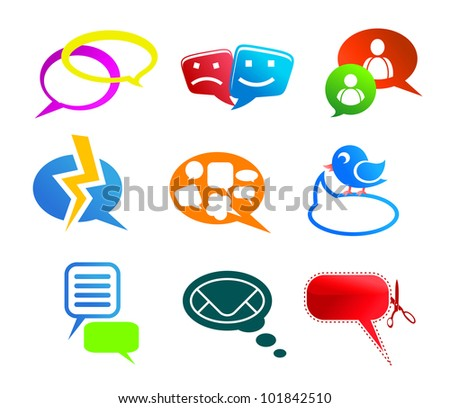 Chat and communication icons and symbols set isolated on white background, such logo. Vector version also available in gallery - stock photo