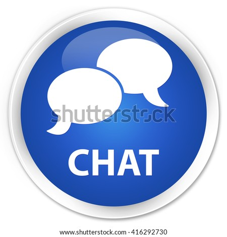 Chat blue glossy round button - stock photo
