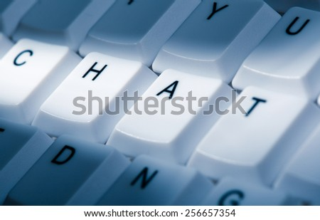 chat concept image on computer keyboard with lightray - stock photo