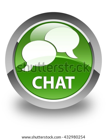Chat glossy soft green round button - stock photo
