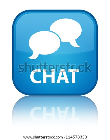 Chat icon reflected on glossy blue square button - stock photo