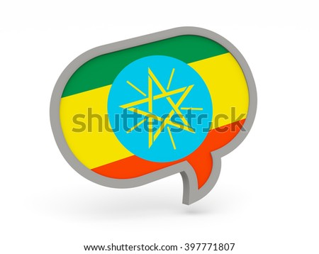 Chat icon with flag of ethiopia isolated on white. 3d render