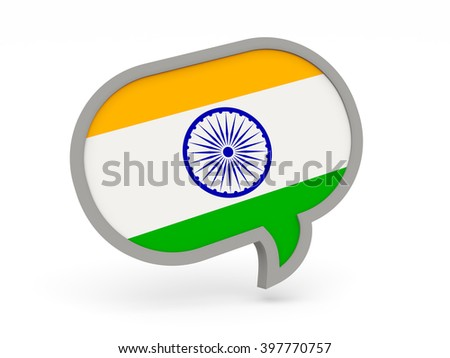 Chat icon with flag of india isolated on white. 3d render