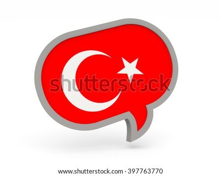 Chat icon with flag of turkey isolated on white. 3d render
