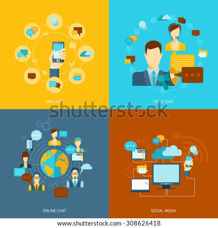 Chat icons flat set with voice online sms chat social media isolated  illustration - stock photo