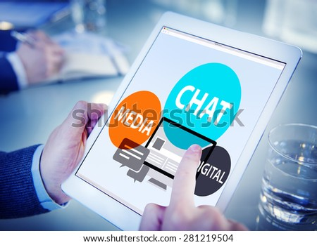 Chat Media Digital Chatting Communication Connect Concept - stock photo