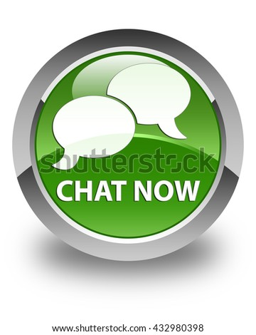 Chat now glossy soft green round button - stock photo
