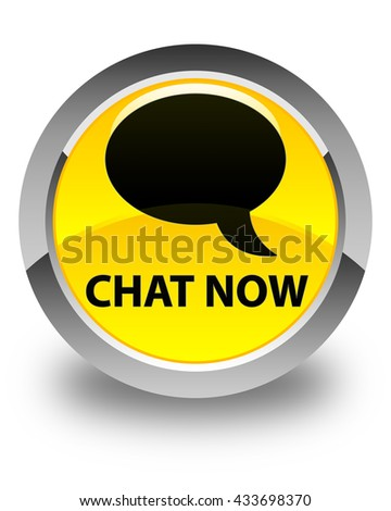 Chat now glossy yellow round button - stock photo