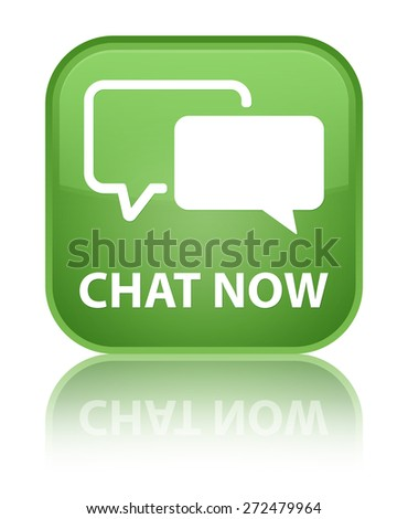 Chat now soft green square button - stock photo