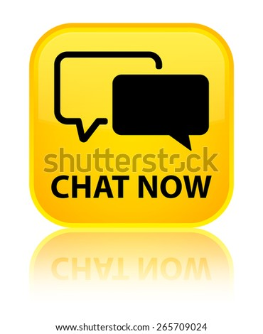 Chat now yellow square button - stock photo