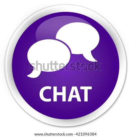Chat purple glossy round button - stock photo