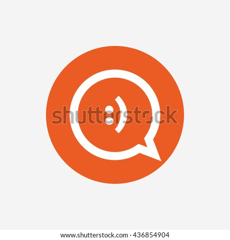 Chat sign icon speech bubble smile stock vector 212983102 - Chat orange ...