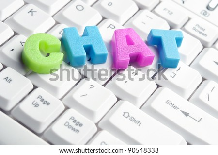 Chat word made by colorful letters on keyboard