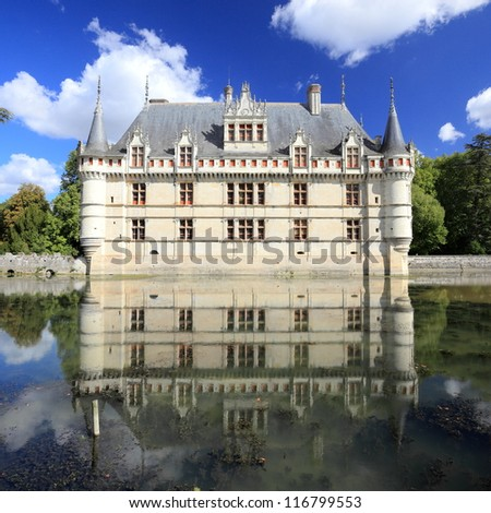 Chateau d'Azay-le-Rideau and peaceful reflection, it is one of the earliest French Renaissance chateaux, and list as an UNESCO world heritage site.