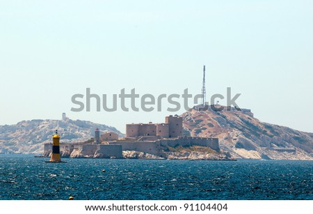 Chateau d'If, famous prison mentioned in Monte Cristo a novel by Alexandre Dumas, in Marseilles, France - stock photo