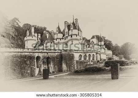 Chateau d'Usse (XVI century). Commune of Rigny-Usse, Indre-et-Loire department, France. Stronghold at edge of Chinon forest overlooking Indre Valley was first fortified in XI century. Antique vintage.