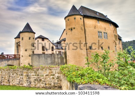 Chateau de Bourglinster in Luxembourg, HDR - stock photo