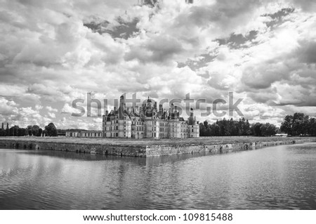 Chateau de Chambord, Loire Valley, France, UNESCO (black and white) - stock photo