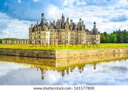 Chateau de Chambord, royal medieval french castle and reflection. Loire Valley, France, Europe. Unesco heritage site - stock photo