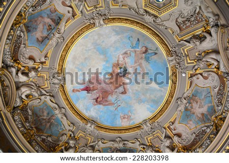 Chateau de Chantilly France October 17: Chateau de Chantilly ceiling painting  on October 17 2014 in Chantilly France  - stock photo