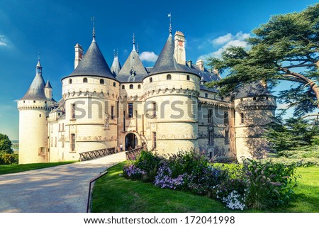 Chateau de Chaumont-sur-Loire, France. This castle is located in the Loire Valley, was founded in the 10th century and was rebuilt in the 15th century. Vintage Photo. - stock photo