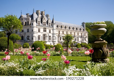 Chateau de Chenonceau from the gardens in Loire Valley, France - stock photo