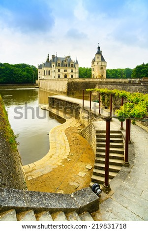 Chateau de Chenonceau royal medieval french castle, garden and river. Chenonceaux, Loire Valley, France, Europe. Unesco heritage site. - stock photo