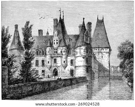 Chateau de Maintenon, vintage engraved illustration.  - stock photo