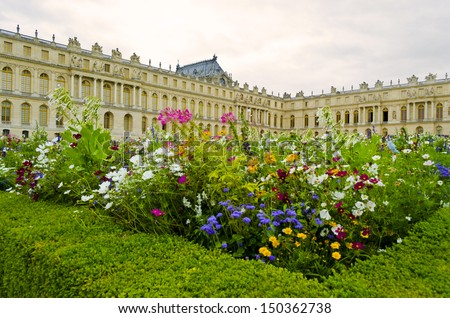 Chateau de Versailles perspective from Parterre Nord - France - stock photo