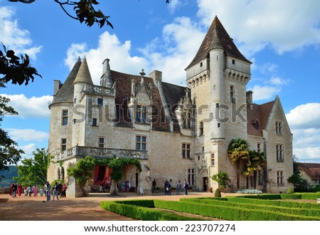 Chateau des Milandes is a fine example of Renaissance architecture and Gothic Revival. This is a small castle in the commune of Castelnaud-la-Chapelle. - stock photo