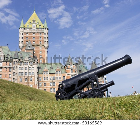 Chateau Frontenac and cannons, Quebec City - stock photo