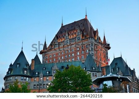 Chateau Frontenac at dusk in Quebec City - stock photo