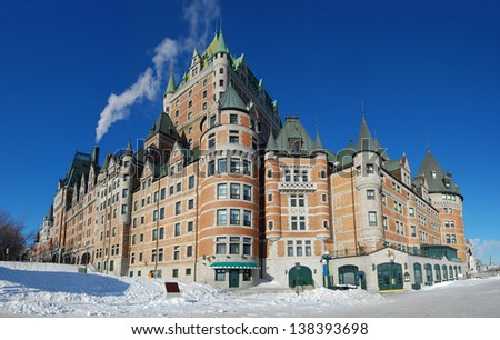 Chateau Frontenac, dominate the skyline of Quebec City, a French-style castle hotel builded in 1893, landmark of Quebec City, Canada - stock photo