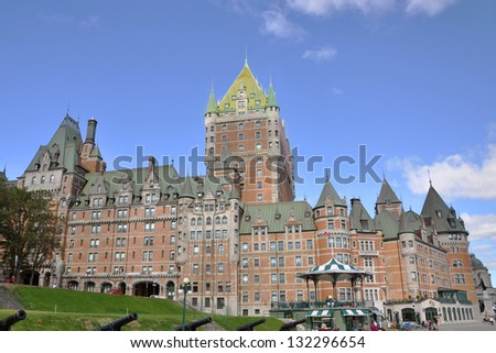 Chateau Frontenac, dominate the skyline of Quebec City, a French-style castle hotel built in 1893, landmark of Quebec City, Quebec, Canada - stock photo